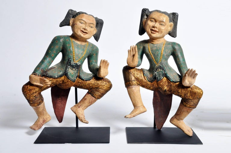 Thai Carved Sculptures of Burmese Dancers For Sale