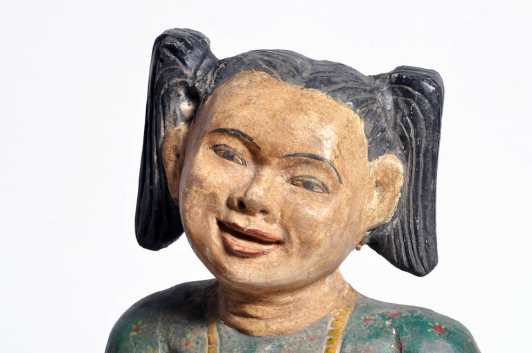 Carved Sculptures of Burmese Dancers For Sale 2