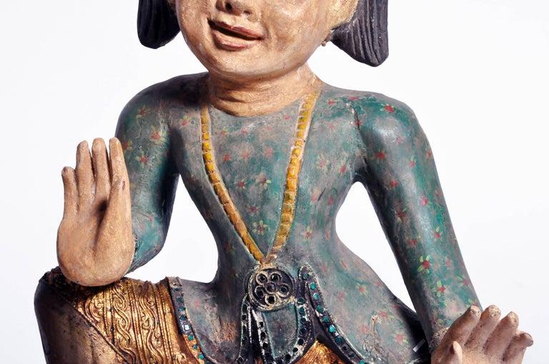 Carved Sculptures of Burmese Dancers For Sale 3