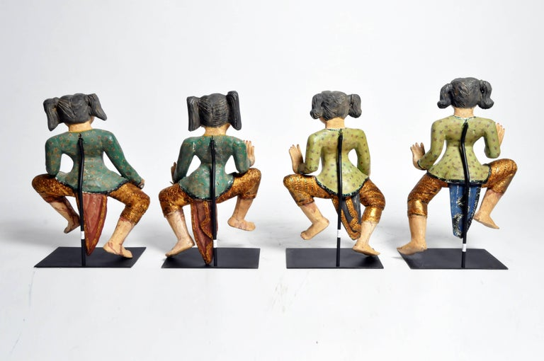 These elegant hand-carved Burmese dancers are made from teak wood and are newly made. Sizes varies for each sculpture.