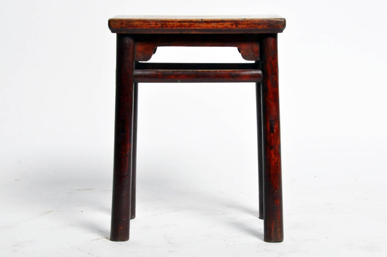 19th Century Qing Dynasty Chinese Stool with Round Legs and Original Lacquer For Sale