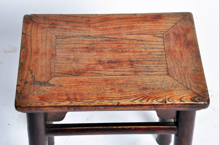 Qing Dynasty Chinese Stool with Round Legs and Original Lacquer For Sale 2