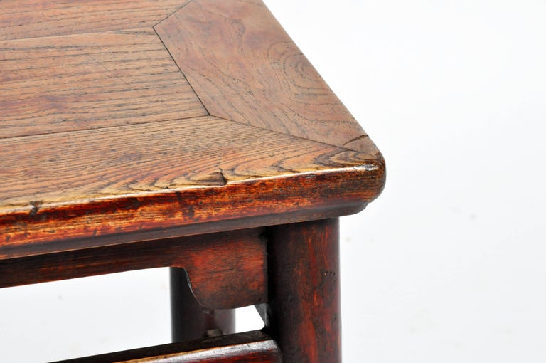 Qing Dynasty Chinese Stool with Round Legs and Original Lacquer For Sale 3