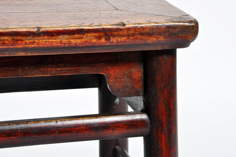 Qing Dynasty Chinese Stool with Round Legs and Original Lacquer For Sale 4