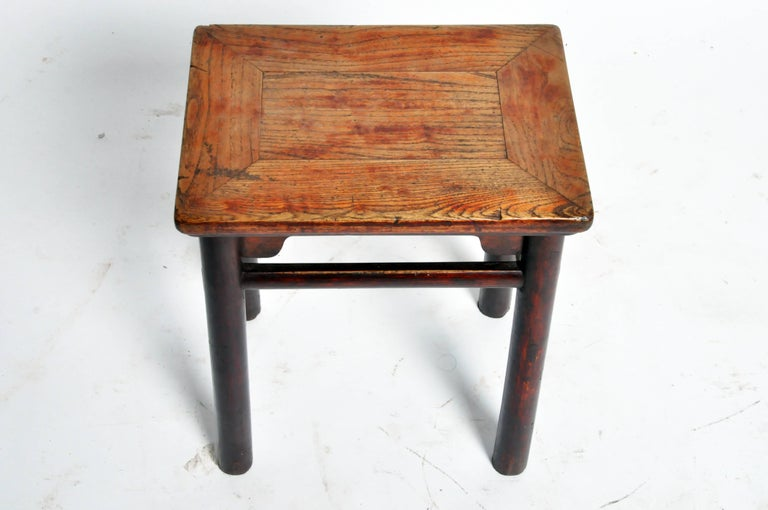 Qing Dynasty Chinese Stool with Round Legs and Original Lacquer For Sale 1