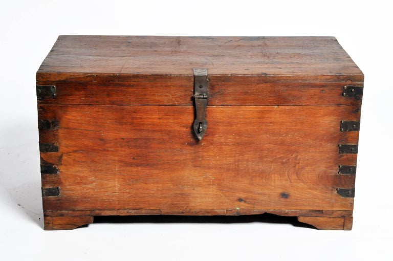 wooden storage box with metal trim for sale at 1stdibs. Black Bedroom Furniture Sets. Home Design Ideas