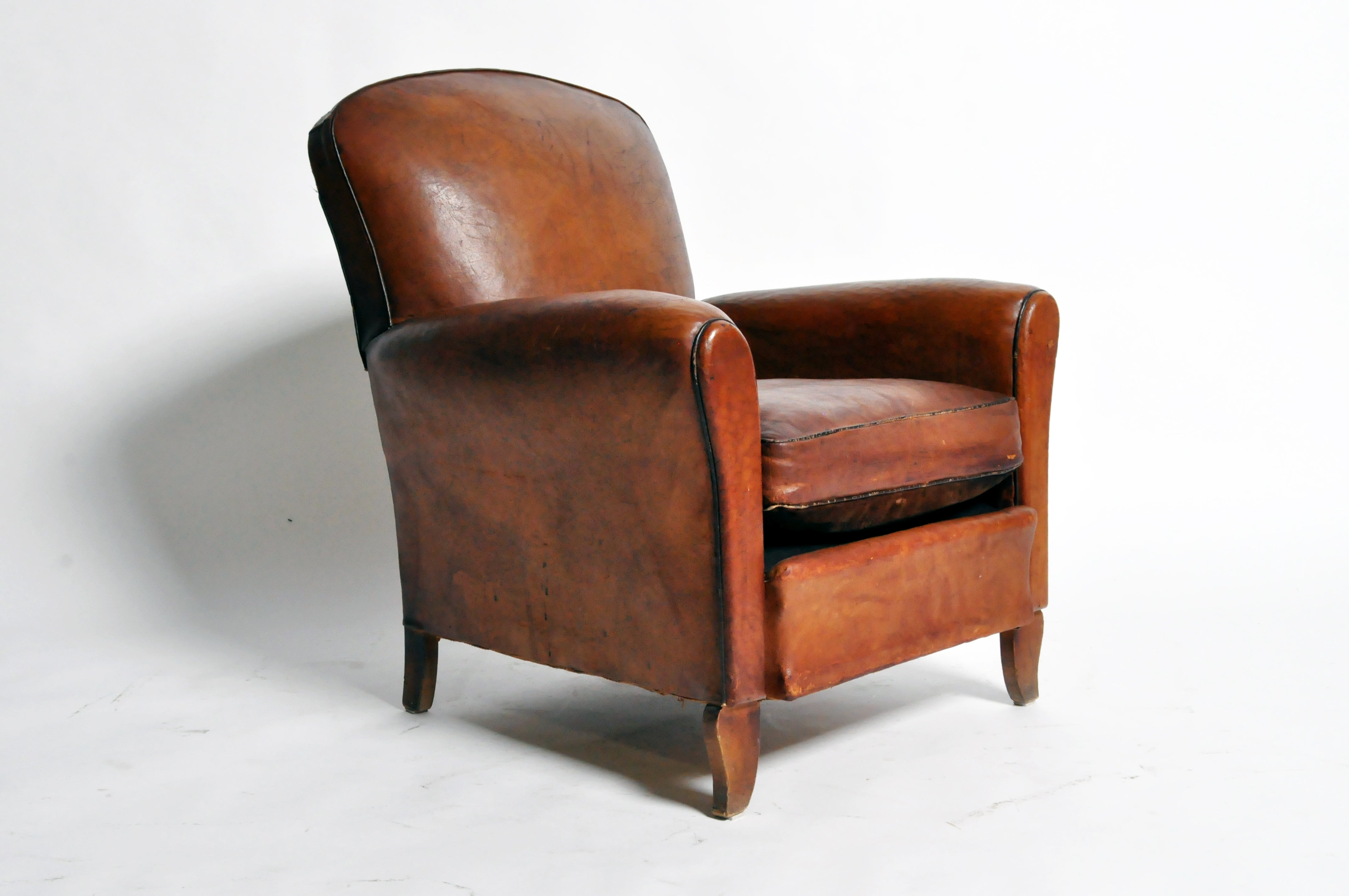 French Art Deco Leather Club Chair With Piping And Original