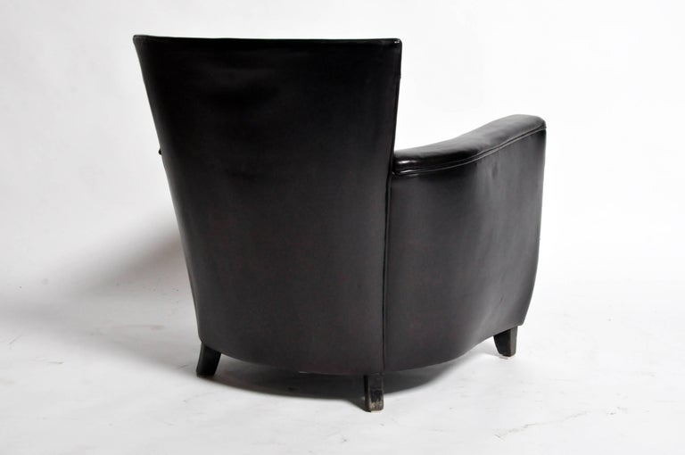 Leather Pair of French Art Deco Style Armchairs For Sale