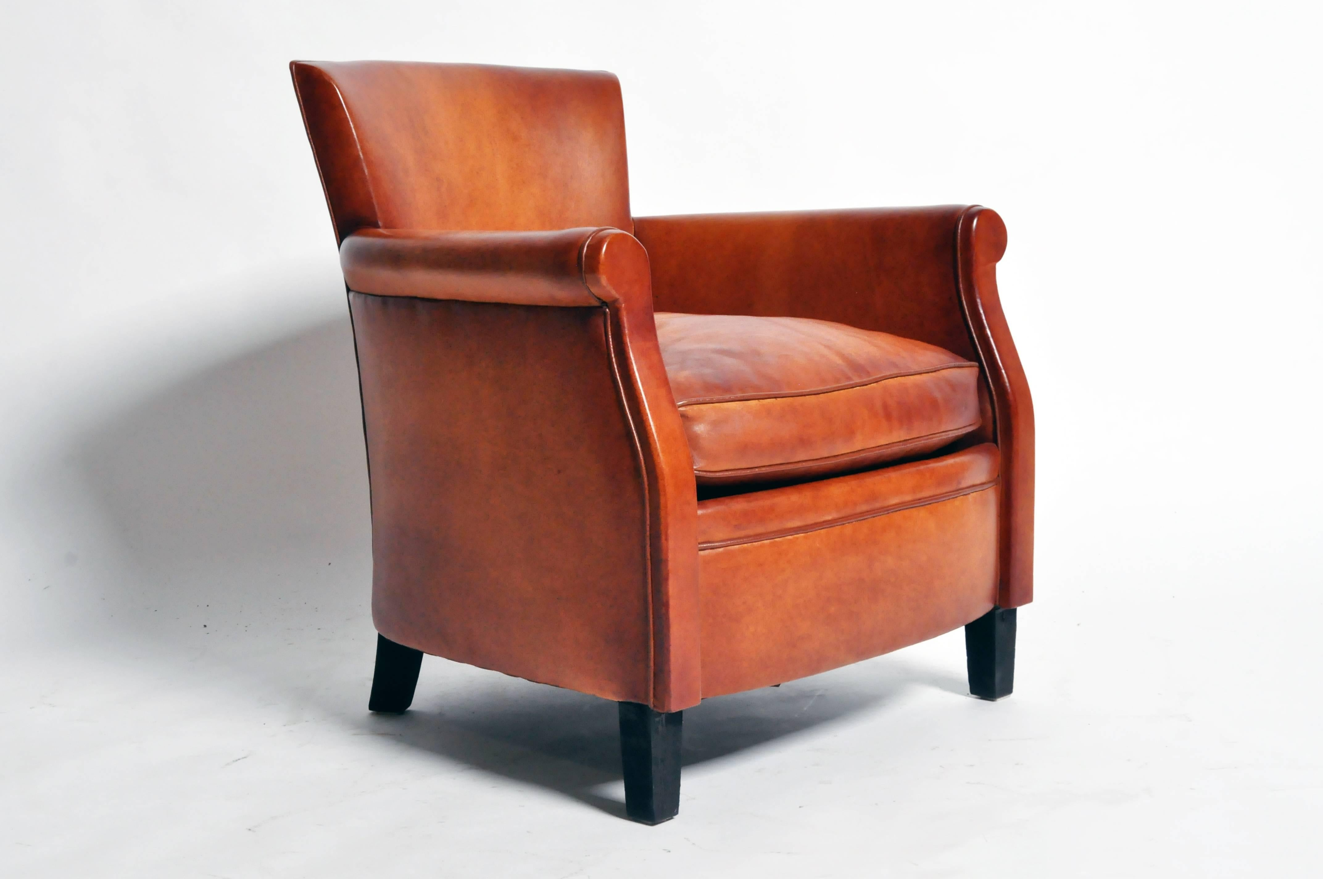 Pair Of Parisian Brown Leather Club Chairs At 1stdibs