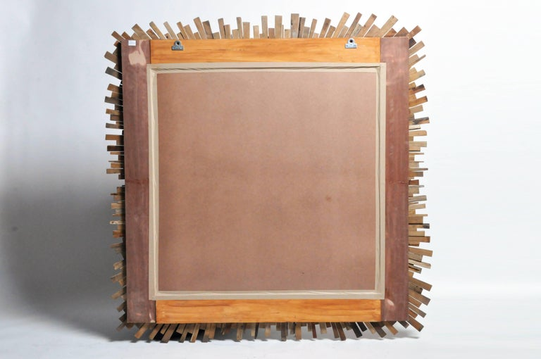 Teak Wood Sunburst Mirror For Sale 10