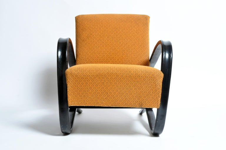 "One of the most prominent Czech furniture designers, Jindrich Halabala served as head designer for UP Manufacturing in Brno between 1930 through the mid-1940s. Having designed most of the ""H"" model furniture his most recognized pieces are armchairs"