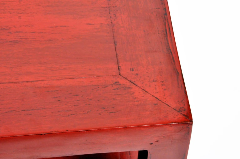 Pair of Red Lacquered Chinese Side Tables with a Drawer For Sale 8