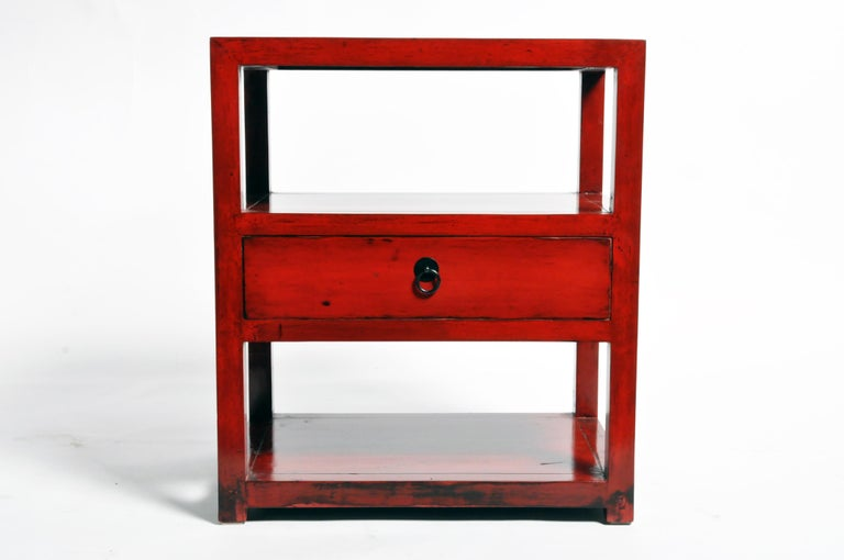 Pair of Red Lacquered Chinese Side Tables with a Drawer In Good Condition For Sale In Chicago, IL