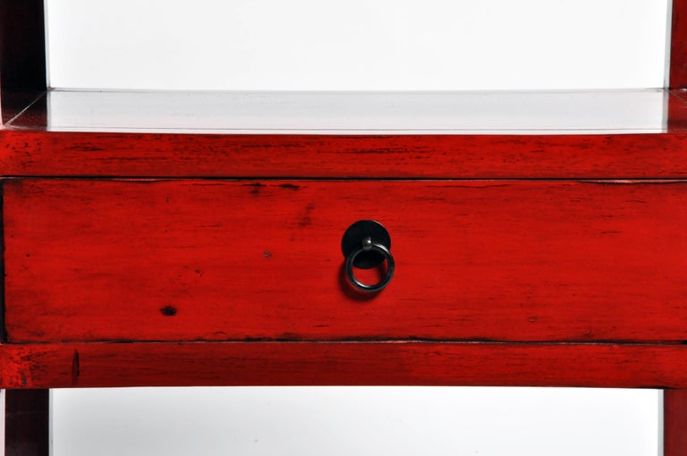 Pair of Red Lacquered Chinese Side Tables with a Drawer For Sale 10