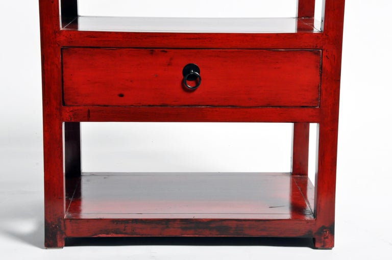 Pair of Red Lacquered Chinese Side Tables with a Drawer For Sale 1