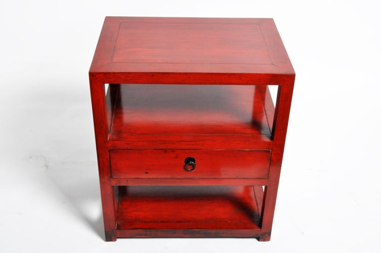 Contemporary Pair of Red Lacquered Chinese Side Tables with a Drawer For Sale