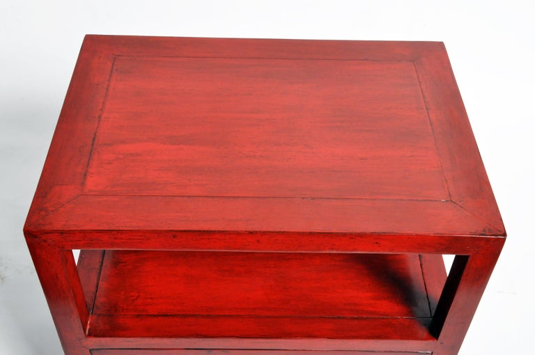 Pair of Red Lacquered Chinese Side Tables with a Drawer For Sale 6