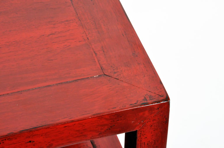 Pair of Red Lacquered Chinese Side Tables with a Drawer For Sale 7