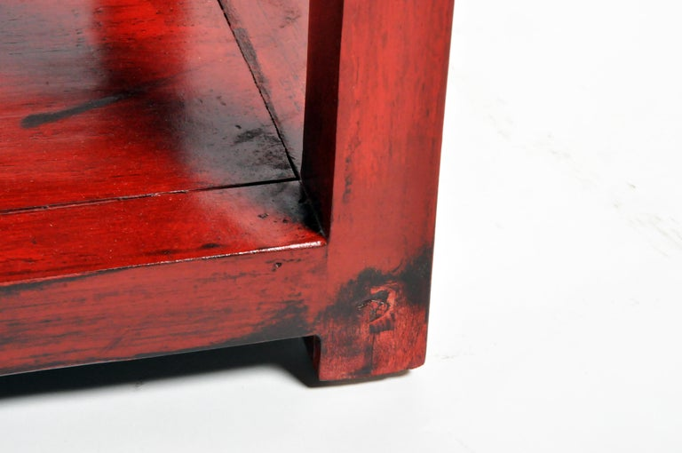 Pair of Red Lacquered Chinese Side Tables with a Drawer For Sale 14