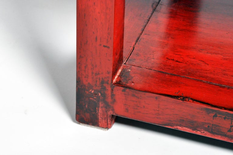 Pair of Red Lacquered Chinese Side Tables with a Drawer For Sale 15