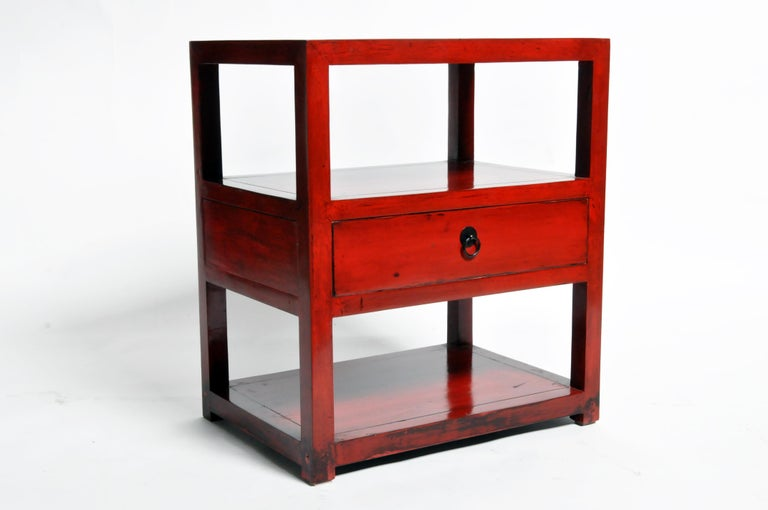 Pair of Red Lacquered Chinese Side Tables with a Drawer For Sale 2