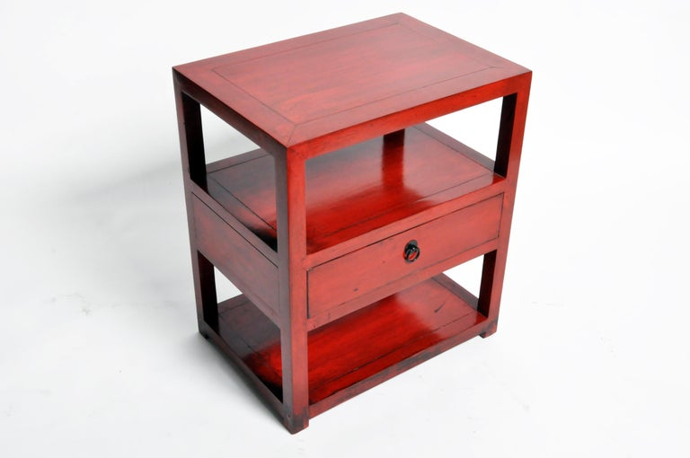 Pair of Red Lacquered Chinese Side Tables with a Drawer For Sale 3