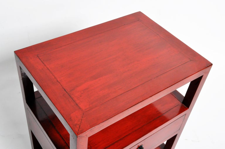 Pair of Red Lacquered Chinese Side Tables with a Drawer For Sale 4