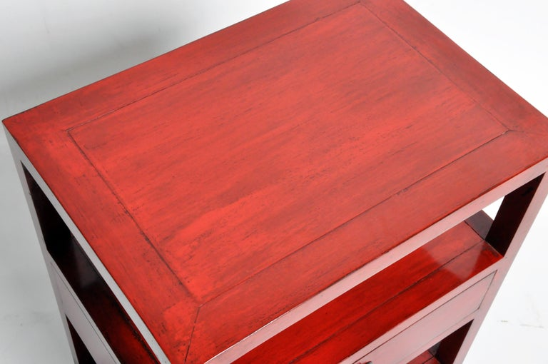 Pair of Red Lacquered Chinese Side Tables with a Drawer For Sale 5