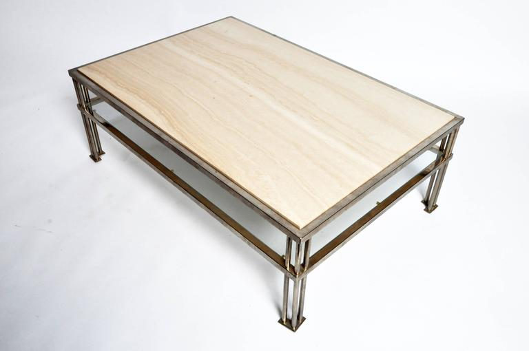mid century modern travertine coffee table at 1stdibs. Black Bedroom Furniture Sets. Home Design Ideas