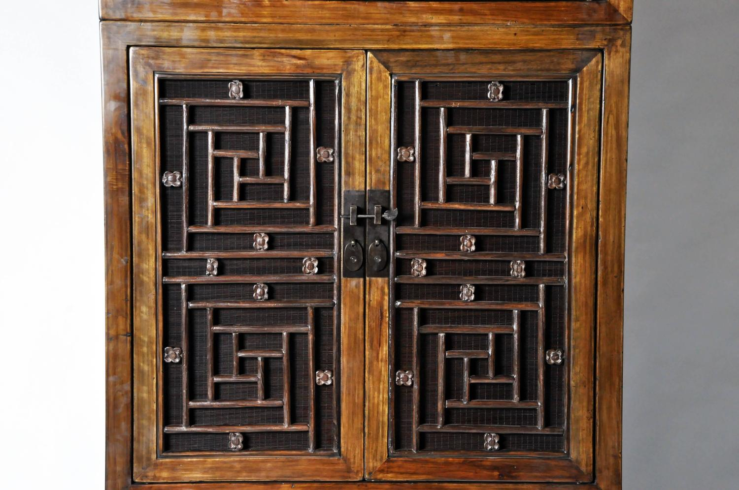 Tall Chinese Lattice Door Cabinet With Restoration For