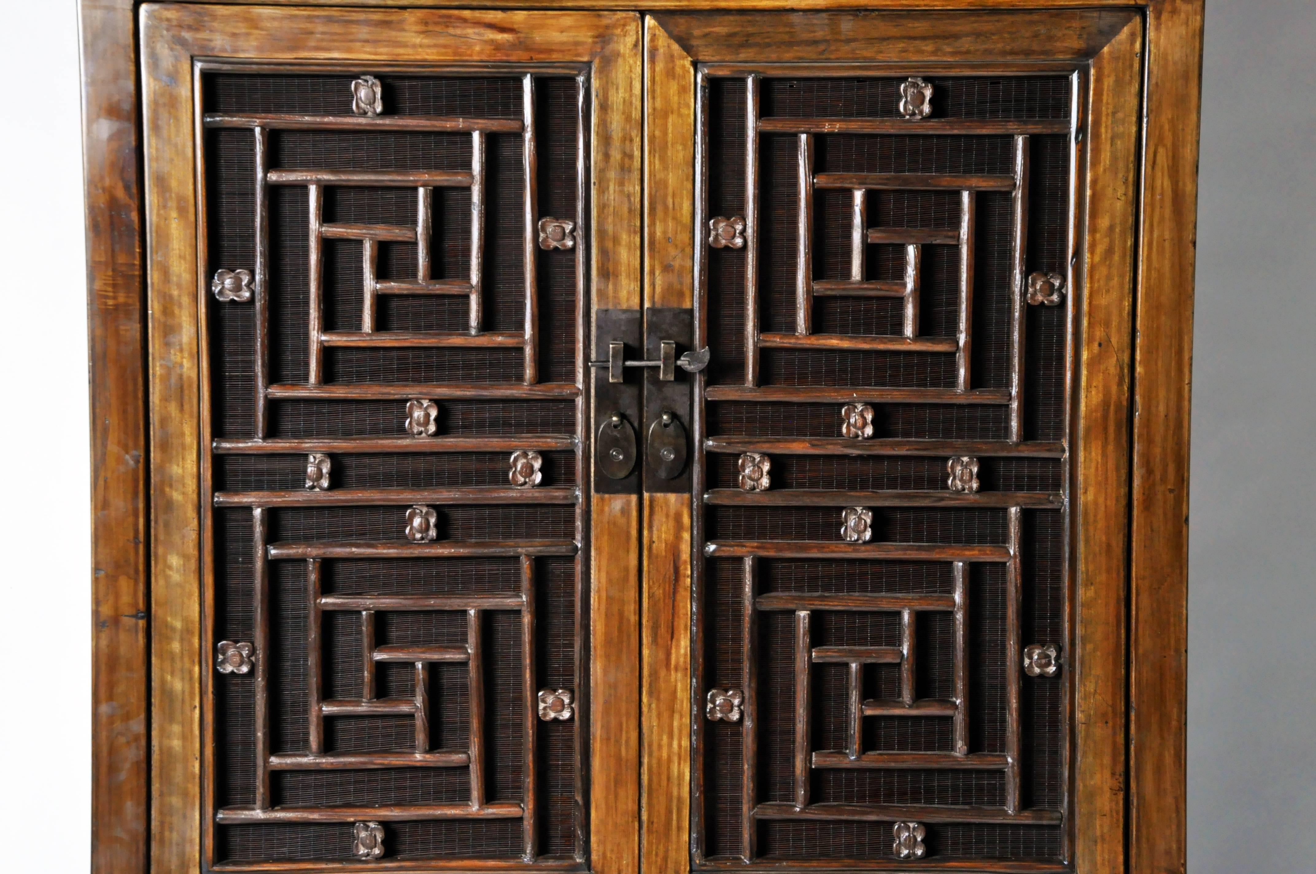 & Tall Chinese Lattice Door Cabinet with Restoration at 1stdibs