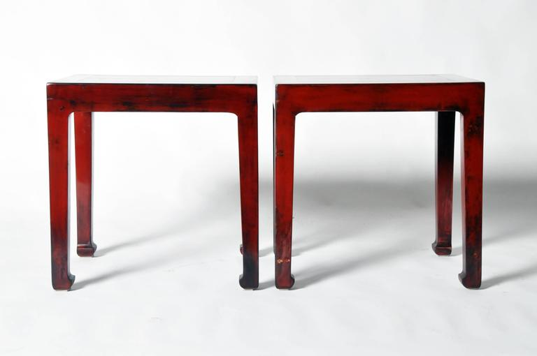 These Chinese Side Tables Elmwood And Has Been Fully Restored. They Also  Feature Hoofed Legs