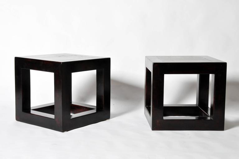 This Pair Of Chinese Side Tables Are Made From Elmwood And Tile. They Have  Been