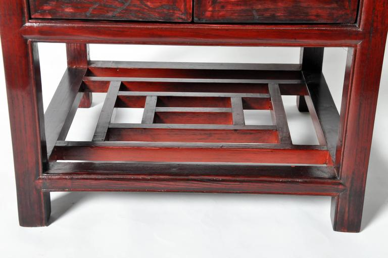 Chinese red lacquered side chest with restoration for sale for Chinese furniture restoration