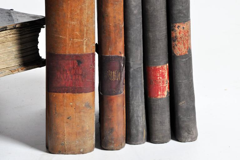 20th Century Leather Bound Set of Spanish Books For Sale