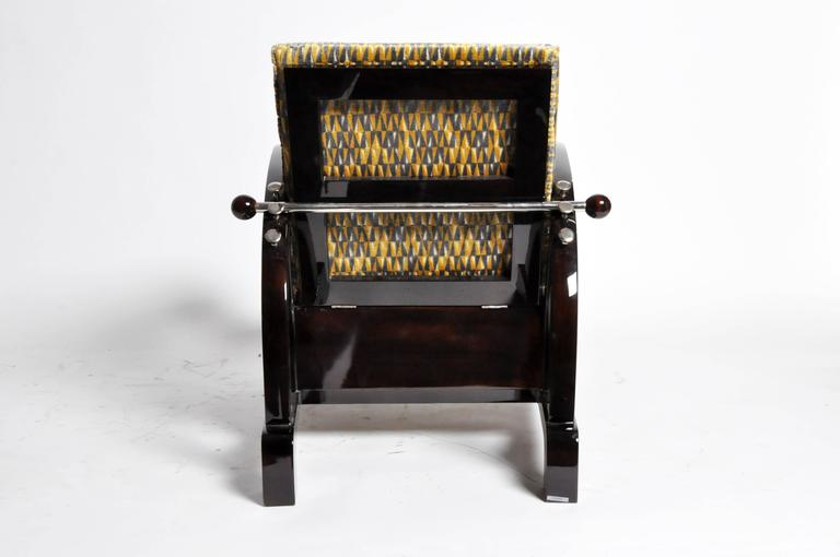 Walnut Pair of Art Deco Style Curved Armchairs For Sale
