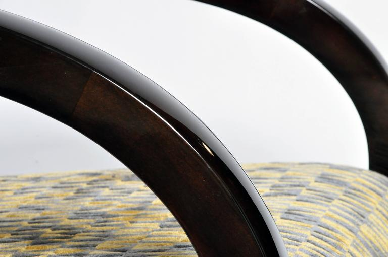 Pair of Art Deco Style Curved Armchairs For Sale 4