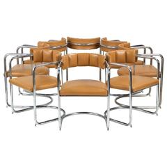 Eight Mid-Century Modern Chromed Tubular and Leather Dining Chairs