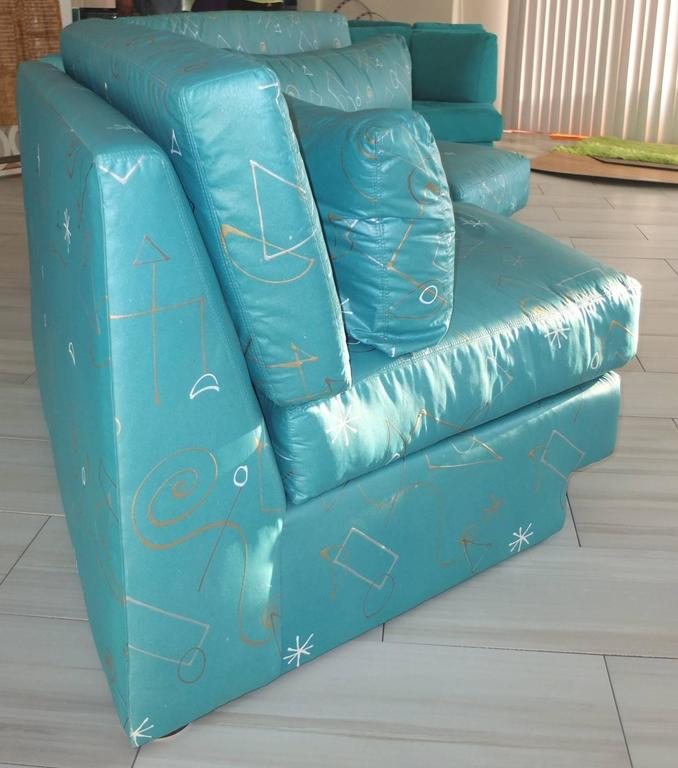 Pair of Wedge Shaped Slipper Chairs in Hand-Painted Fabric For Sale 1