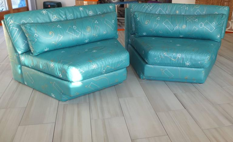 Modern Pair of Wedge Shaped Slipper Chairs in Hand-Painted Fabric For Sale