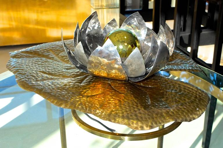 Hammered Tommaso Barbi Lilypad Table or Wall Lamp For Sale