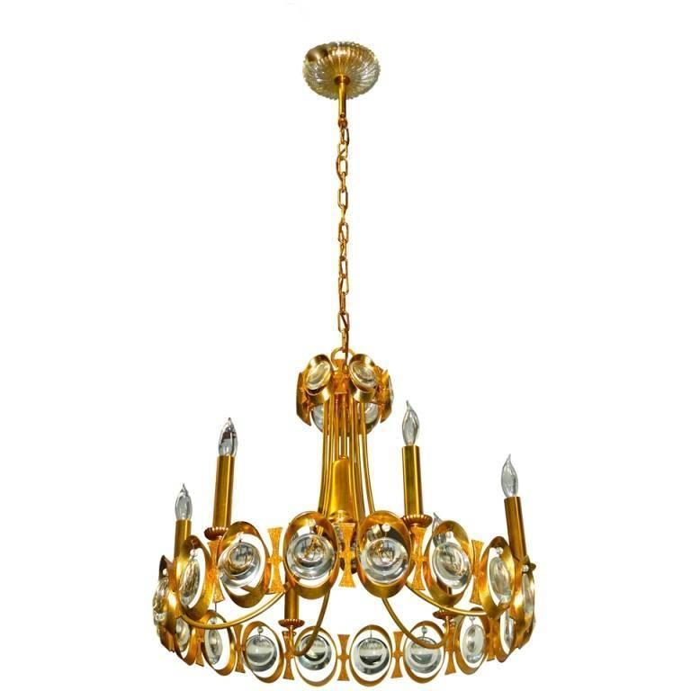 Palwa Gilt Brass and Optic Lens Crystal Chandelier 1
