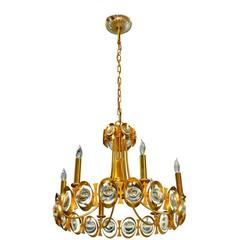 Palwa Gilt Brass and Optic Lens Crystal Chandelier