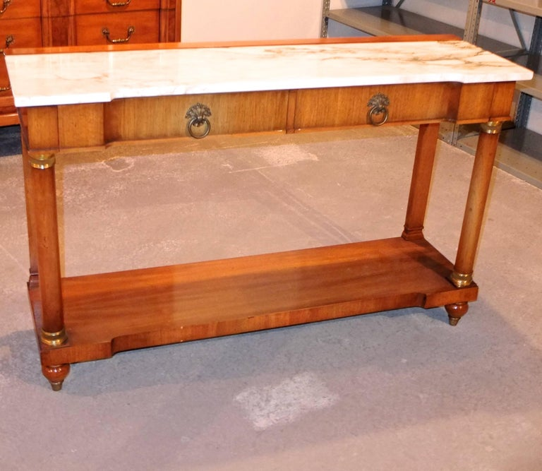 American John Widdicomb Empire Style Console Table with Marble Top For Sale