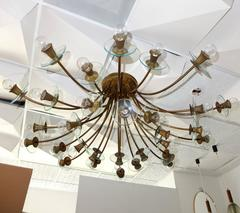 Large and Rare Italian 30 Arm Chandelier After Pietro Chiesa for Fontana Arte