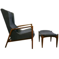 Ib Kofod Larsen Wingback Chair and Ottoman