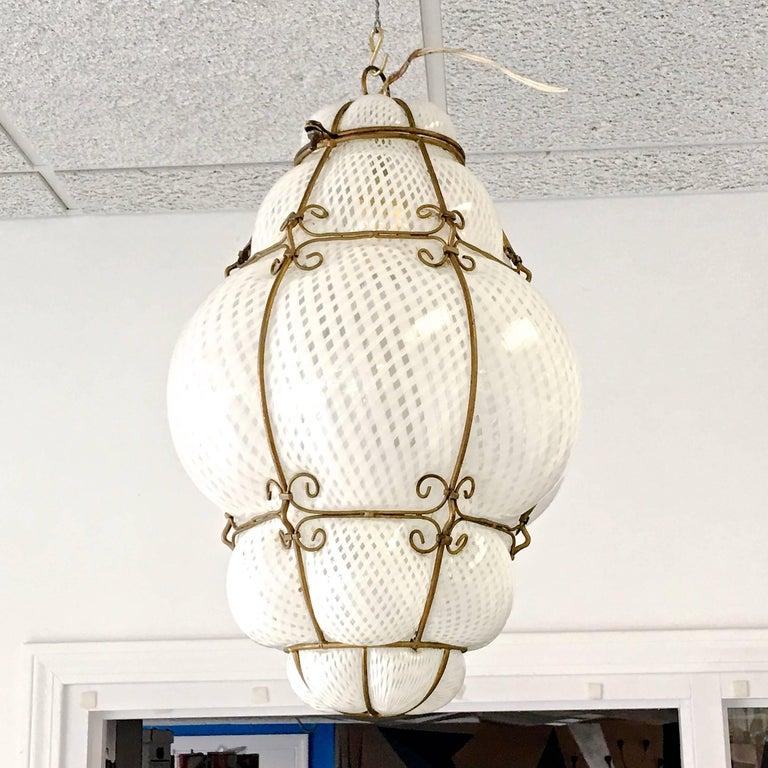 Mid-Century Modern Dino Martens Murano Cage Blown Bubble Glass Lantern For Sale