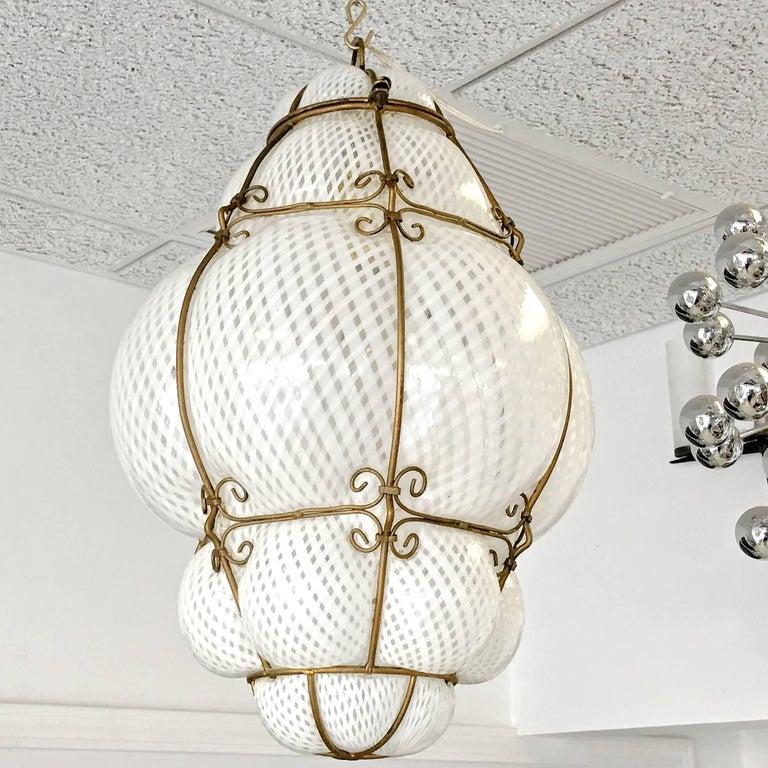 Italian Dino Martens Murano Cage Blown Bubble Glass Lantern For Sale