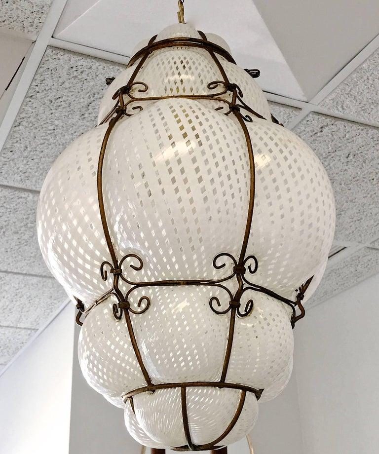 Mid-20th Century Dino Martens Murano Cage Blown Bubble Glass Lantern For Sale