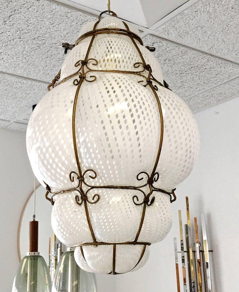 Murano Glass Dino Martens Murano Cage Blown Bubble Glass Lantern For Sale